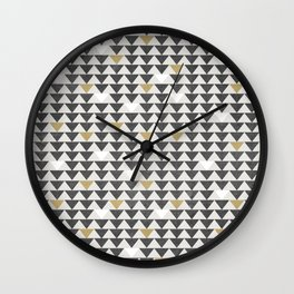 Geometric Triangle Charcoal Gold And White Pattern Wall Clock