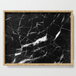 modern chic minimalist abstract black marble Serving Tray