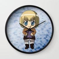 shingeki no kyojin Wall Clocks featuring Shingeki no Kyojin - Chibi Armin by Tenki Incorporated