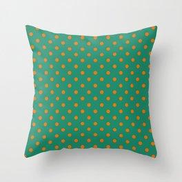 Large Orange on Elf Green Polka Dots Throw Pillow