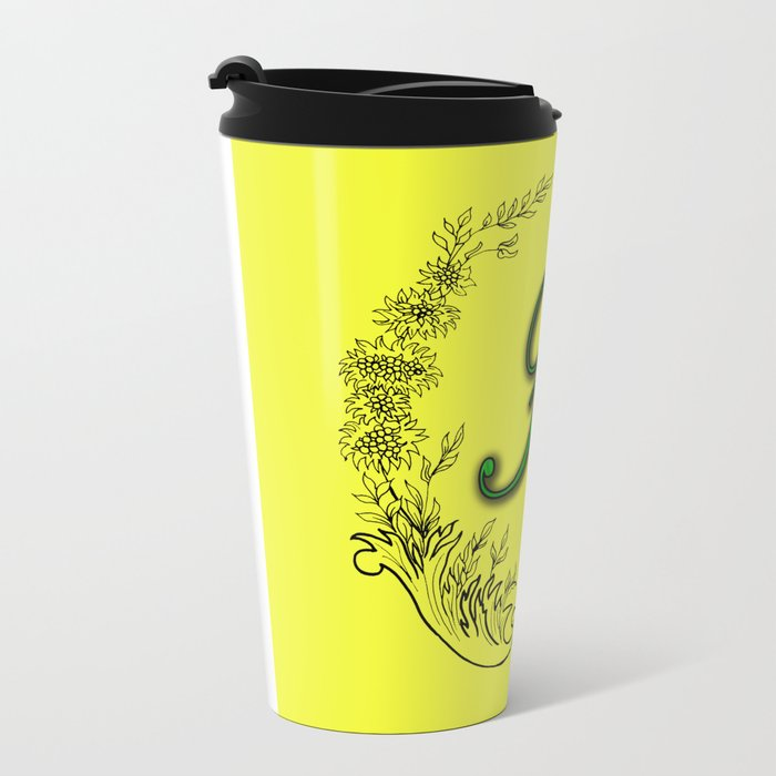 the letter F in a leaves and flowers . Art Metal Travel Mug