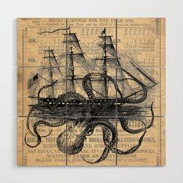 Octopus Kraken attacking Ship Antique Almanac Paper Wood Wall Art