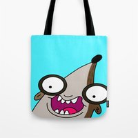 regular show Tote Bags featuring Rigby - Regular Show by Rey~