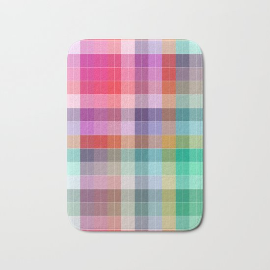 Bright Plaid Bath Mat