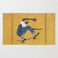 skateboard Area & Throw Rugs featuring Skateboard 5 by Aquamarine Studio