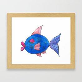 Blue Kissy Fish Cartoon Framed Art Print