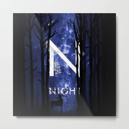 Starry Night and Moon #5: Night Metal Print