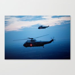 Support Helicopters Fly at Dusk Canvas Print