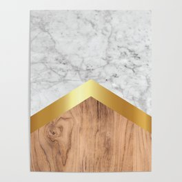 Arrows - White Marble, Gold & Wood #851 Poster