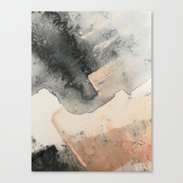 Peace and Quiet [2]: a pretty, minimal abstract piece in gray and peach by Alyssa Hamilton Art Canvas Print