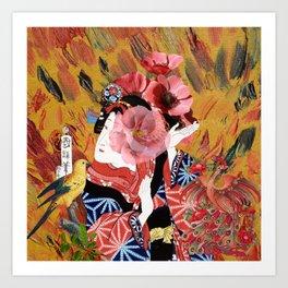 Collage Art Geisha Art Print