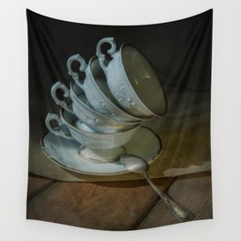 Still life with white teacups Wall Tapestry