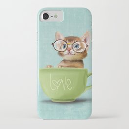 Kitten with glasses iPhone Case
