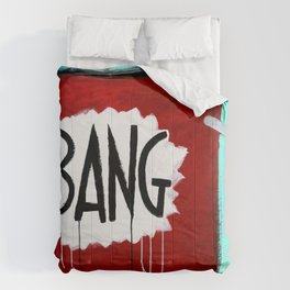 "Bang! (2011), 27"" x 37"", acrylic on gesso on chipboard Comforters"