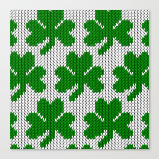 Shamrock pattern - white, green Canvas Print