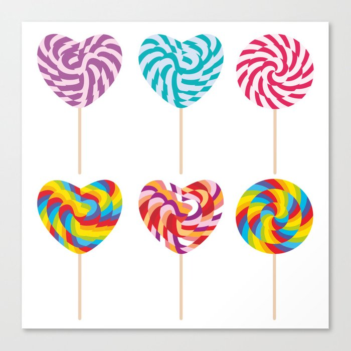 lollipops, colorful spiral candy cane with twisted design Canvas Print