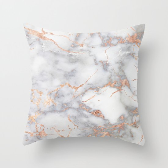 Grey Marble Rosegold Pink Metallic Foile Style Throw