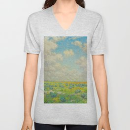 Granville Redmond Spring Antelope Valley Beautiful Landscape Painting Blue Sky Green Flower Filled F Unisex V-Neck