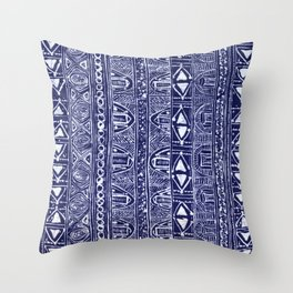 Blue Tribe Throw Pillow