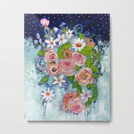 Celestial Sky Flower Garden Metal Print