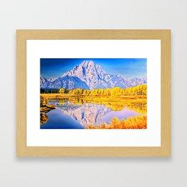 mountain reflection Framed Art Print