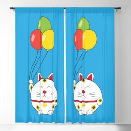 Fat Cat with Balloons Blackout Curtain