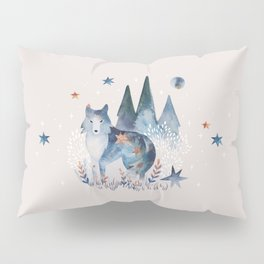 Watercolor Celestial Wolf | Mystic Forest | Soul Animal Pillow Sham