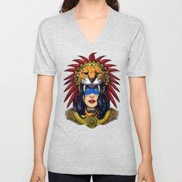 Aztec Jaguar Warrior Native Mexican Headdress Unisex V-Neck