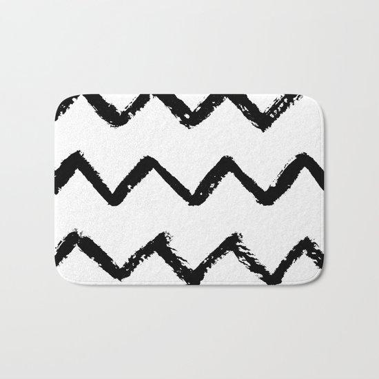 Chevron Stripes Black and White Bath Mat