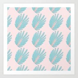 Turquoise Twice-Pinnated Leaves Pattern Art Print