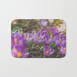 Flowers Crocuses Violet Close-up Spring Sunny Day Bath Mat