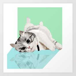 Lazy cat Art Print