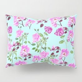 pink purple flowers watercolor painting Pillow Sham