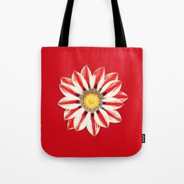 African Daisy / Gazania - Red and White Striped Tote Bag