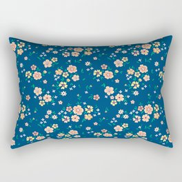 "Cute Floral pattern of small light flowers. ""Ditsy print"". Rectangular Pillow"