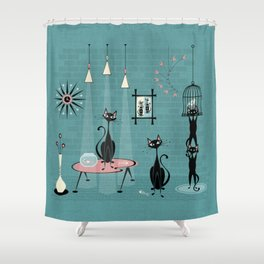Mid Century Kitty Mischief - ©studioxtine Shower Curtain
