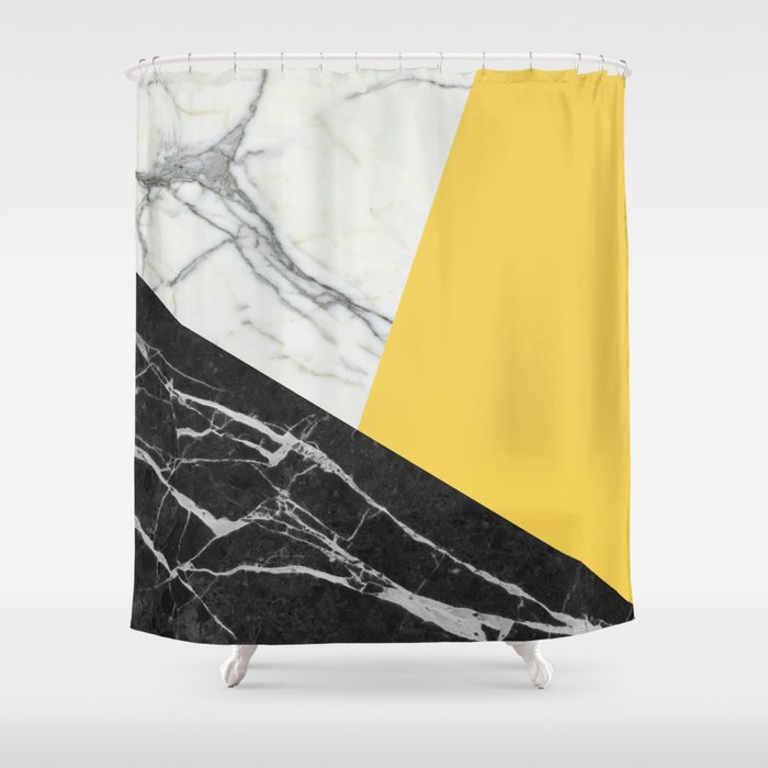 Black And White Marble With Pantone Primrose Yellow Shower Curtain By Calacatta