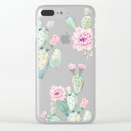 Simply Cactus Rose Clear iPhone Case