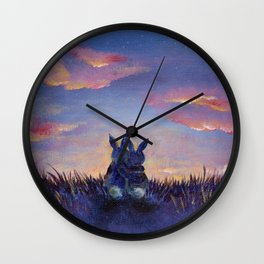 Snuggle Bunnies at Sunset Wall Clock