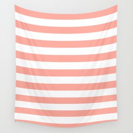 Simply Striped in Salmon Pink and White Wall Tapestry