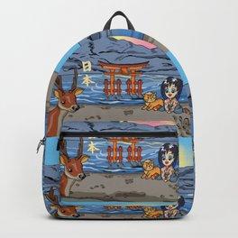 Kawaii girl on Miyajima Island Japan Backpack
