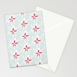Holiday Floral Poinsettia Red Blue #Holiday #Christmas Stationery Cards