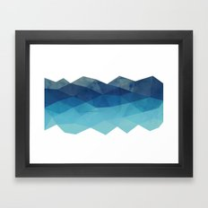 Fractal blue geometry Framed Art Print
