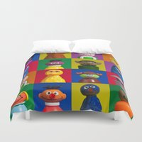 sesame street Duvet Covers featuring Action Figure Grid: Sesame Street by CantinaDanny