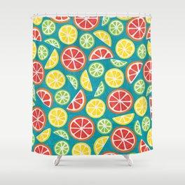 Vitamin C Super Boost - Citric Fruits on Petroleum Shower Curtain