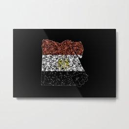Map of Egypt, Polygonal mesh line map, flag map Metal Print