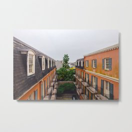 The Colorful Buildings and Palm Trees in New Orleans Metal Print