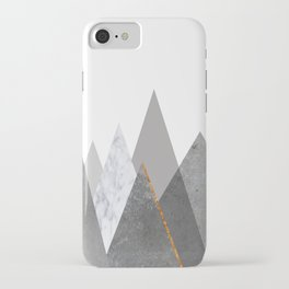 Marble Gray Copper Black and White Mountains iPhone Case