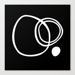 Black and White Circles Abstract Modern Canvas Print