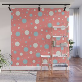 Coral and Blue Dots   Wall Mural